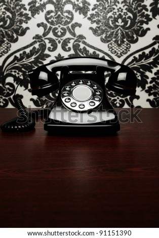 Vintage telephone at the desk