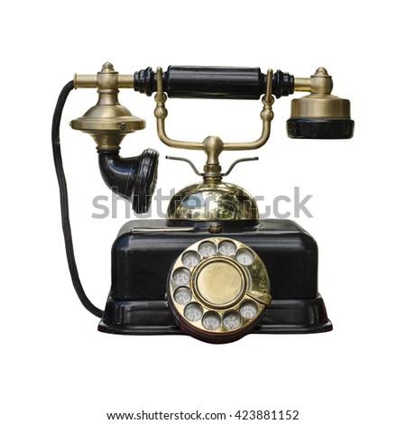 vintage telephone isolated on white #423881152