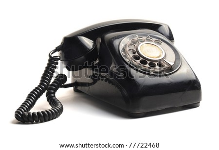 vintage telephone isolated on white background