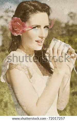 Vintage Telephone Operator Is A Lady Making An Announcement Into A Old Fashioned Tin Can Phone In A Playful Child Like Telephone Call Concept