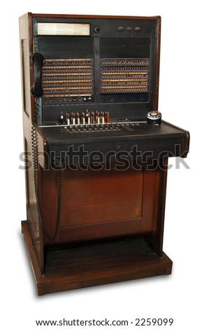 vintage telephone switchboard station - stock photo