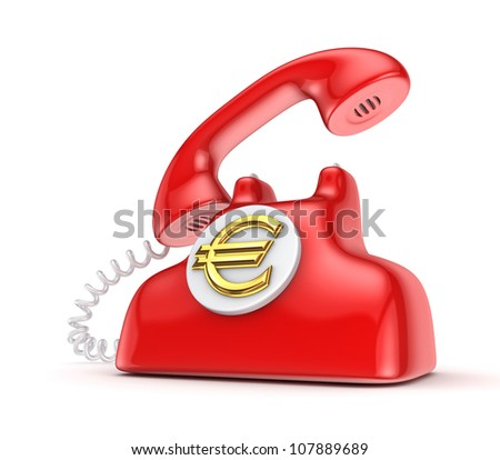 Vintage telephone with golden euro sign.Isolated on white.3d rendered.