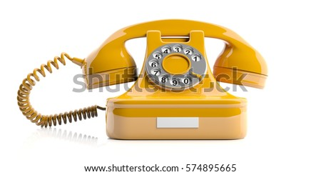 Vintage telephone. Yellow old phone isolated on white background. 3d illustration