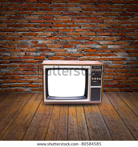 Vintage television in room