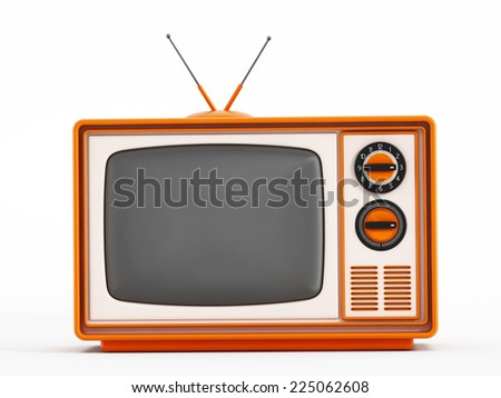 Vintage television isolated on white background.