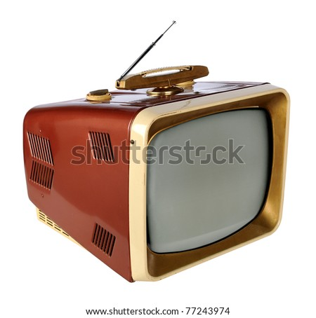 Vintage television isolated over white background - With Clipping path on TV and Screen