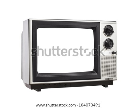 Vintage Television isolated with blank, empty screen.