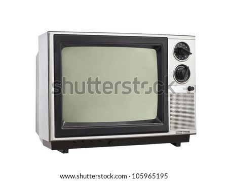 Vintage Television isolated with clipping path.