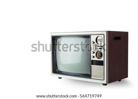 Vintage Television on White Background.