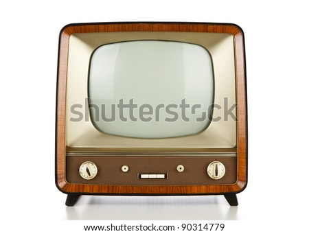 Vintage television over white background
