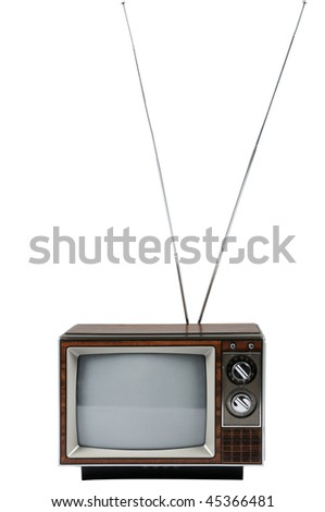 Vintage television with antenna isolated over white background