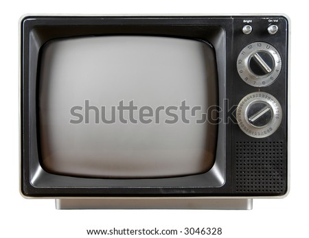 Vintage Television with knobs and buttons isolated over a white background.