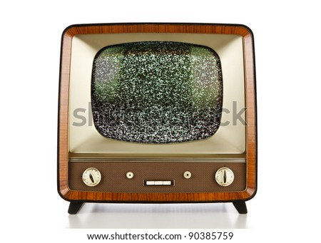 Vintage television with no signal static