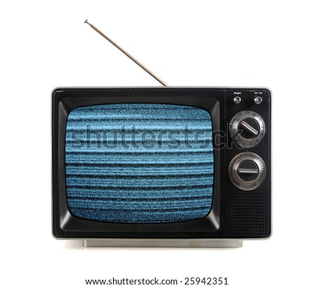 Vintage television with snow bands and patterns isolated over white