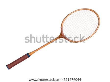Vintage tennis racket on isolated white background