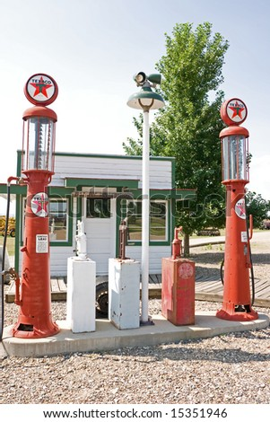 vintage texaco gas pumps in...