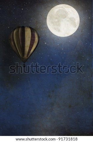 Vintage textured background with balloon and moon