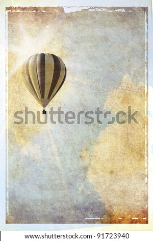 Vintage textured background with sun, balloon and clouds