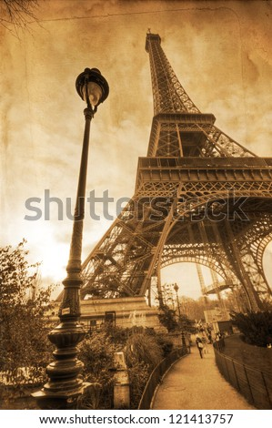 vintage textured picture of the Parisian Eiffel Tower