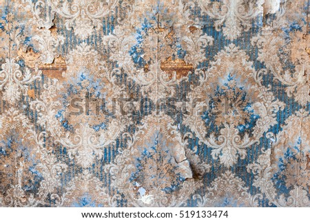 Vintage textures: old wallpaper, peeling paint, brick wall and layers of different colorful backgrounds. #519133474