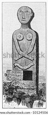 Vintage 19th century Architectural element with an ancestor, Celebes -  Picture from Meyers Lexicon books collection (written in German language) published in 1908, Germany.