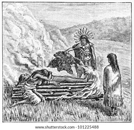Vintage 19th century drawing of Oregon Tolkotin Indian Cremation Ceremony -  Picture from Meyers Lexicon books collection (written in German language) published in 1908, Germany.