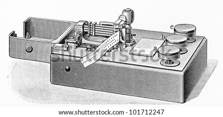 Vintage 19th century Morse code telegraph machine - Picture from Meyers Lexikon book (written in German language) published in 1908 Leipzig - Germany.