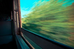 Vintage Thai train window with pastel colour