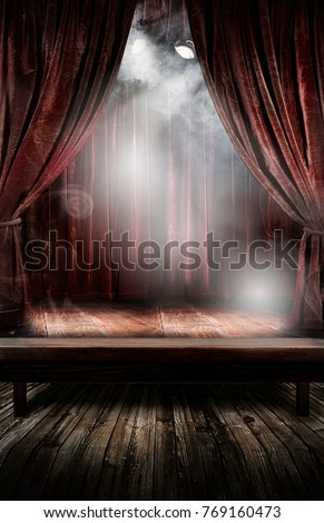 vintage theatre with fog
