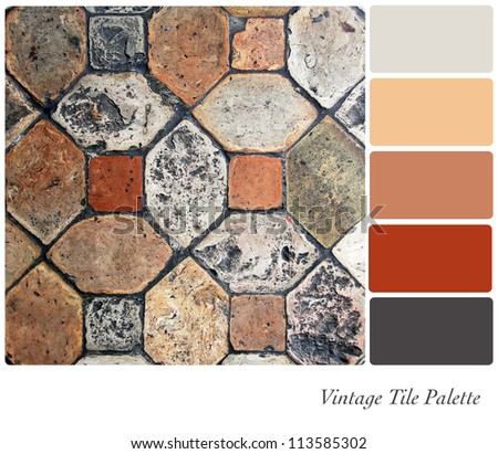 Vintage tile background colour palette with complimentary swatches.