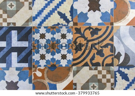 vintage tiles background and...