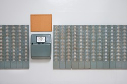 Vintage time working punching card wall, from the 60s and 70s