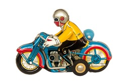 Vintage tin motorcycle or motorbike clockwork toy collectible isolated on white