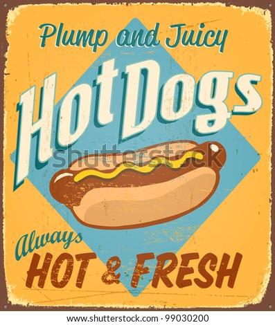 Vintage tin sign - Hot Dogs - Raster version