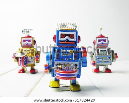 vintage tin three robot toys on ...