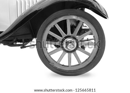 Vintage tire and wood rim  of old classic car