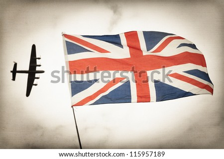 vintage toned bomber aircraft and British Union flag Battle of Britain concept