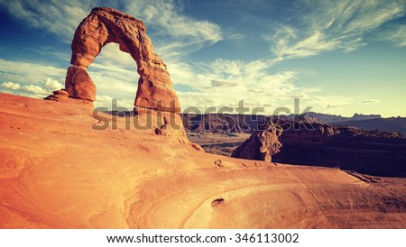 vintage toned delicate arch at...