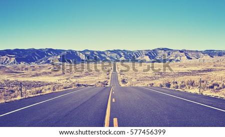 vintage toned desert asphalt...