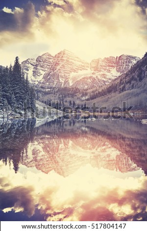 vintage toned maroon bells at...