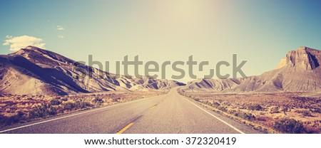 vintage toned panoramic photo...