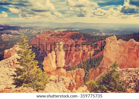 Vintage toned rock formations in Bryce Canyon National Park, Utah, USA.