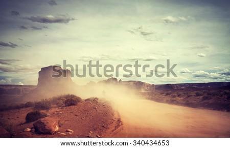 vintage toned sandstorm over...