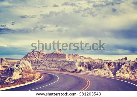vintage toned scenic road in...