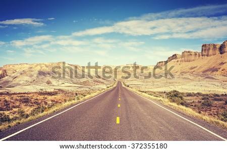 vintage toned scenic road  utah ...