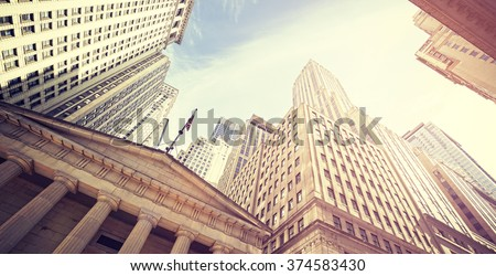 vintage toned wall street at...