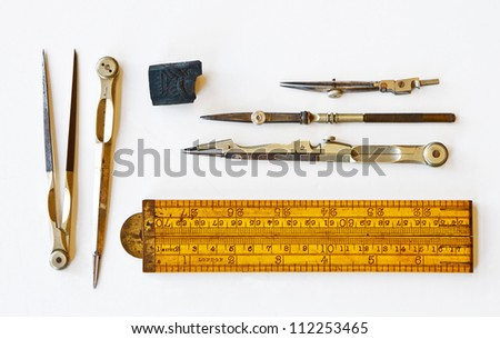 Vintage tools for measurement, drawing, draftsmanship, and graphical works. Isolated on white background. #112253465