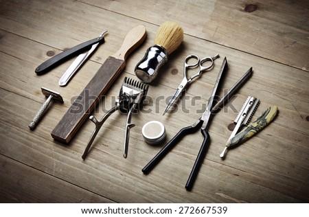 vintage tools of barber shop on ...