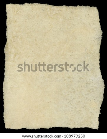 Vintage torn canvas art paper isolated on black.