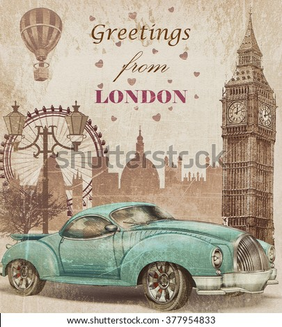 vintage touristic greeting card....